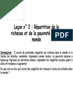 Lecon n 2 Repartition de La Richesse Et de La Pauvrete Dans Le Monde