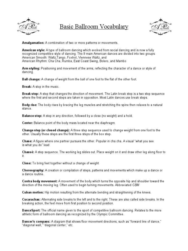 Basic Ballroom Vocabulary Dance Social Argentine Tango Steps Diagram Figures