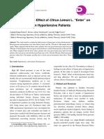 "Evaluation of the Effect of Citrus Lemon L. ""Enter"" on Blood Pressure in Hypertensive Patients"