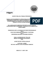 """""""MANUAL DE PROCEDIMIENTOS OPERACIONALES ESTANDARIZADOS DE SANEAMIENTO (POES), EN EL ÁREA DE SACRIFICIO Y FAENADO DE UN ESTABLECIMIENTO DE SACRIFICIO DE PORCINOS TIPO INSPECCIÓN FEDERAL (TIF) EN EL ESTADO DE MÉXICO"""""""