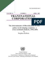 The Deter of FDI Liberalization Policy