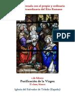 2 de Febrero. Fiesta de la Purificación de la Virgen. Propio y Ordinario de la santa misa