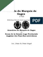 Rituels du Marquis de Gages - 1763
