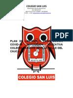 Plan de Limpieza y Desinfeccion Colegio San Luis