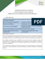 Syllabus del curso Formulación de Proyectos Productivos