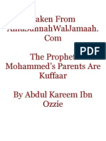 The Prophet Mohammed's Parents Are Kuffar