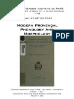 Harry EGERTON FORD - Modern Provençal Phonology And Morphology