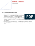Miscellaneous Transactions