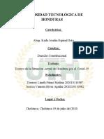 Ensayo de La Situación Actual de Honduras Por El Covid-19