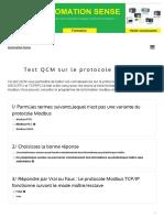 Test QCM sur le protocole Modbus