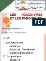 Les homonymes et les paronymes