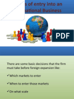 Modes of entry into an International Business
