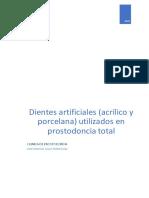 Dientes artificiales (acrílico y porcelana) utilizados en prostodoncia total