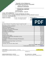CSPC Graduate Forum 2011 Financial Report