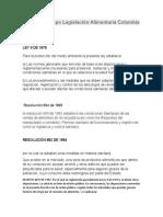 Línea de Tiempo Legislación Alimentaria Colombia