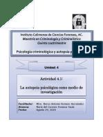 La Autopsia Psicologíca Como Medio de Investigación