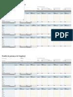 Feuille de temps annuel - Feuille de présence de l'employé journalière, hebdomadaire, mensuelle, annuelle