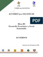 Acuerdo Por Zacatecas Mesa #5 Desarrollo Economico y Social Sustentable