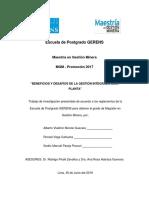 BENEFICIOS Y DESAFIOS DE LA GESTIÓN INTEGRADA MINA-PLANTA
