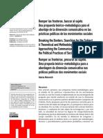 Romper las fronteras, buscar al sujeto. Una propuesta teórico-metodológica para el abordaje de la dimensión comunicativa en las prácticas políticas de los movimientos sociales