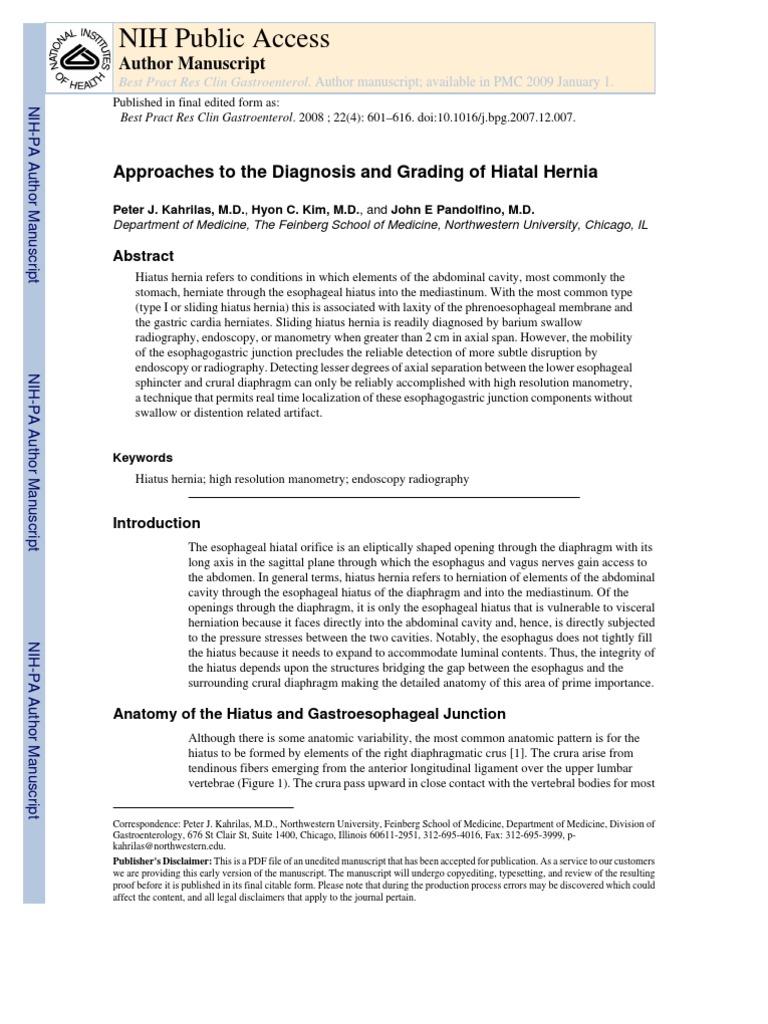 Hiatus Hernia, Diagnosis and Grading   Esophagus   Gastroenterology