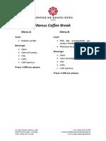 Menus Coffee Break