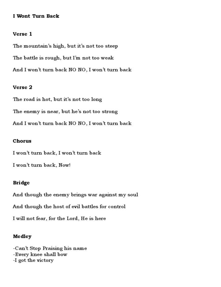 I Wont Turn Back (Lyrics)