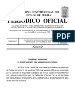 Reglamento del Servicio Profesional de Carrera Policial de la Secretaría de Seguridad Ciudadana del H. Ayuntamiento del Municipio de Puebla.