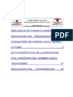 Acta Constitutiva Asociacion Civil de Vivienda OCV La Toma