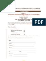 Fiche Inscription Les Ateliers Pratiques Du Territoire Et de La Complexite