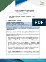 Guía de Actividades y Rubrica de Evaluación - Tarea 1 - Presaberes