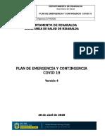 2020 04 21 PLAN DE EMERGENCIA Y CONTINGENCIA COVID VERSION 4