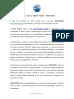 DENUNCIA ANTE LA OPINIÓN PÚBLICA IFMNOTICIAS