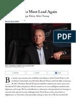 J.R. Biden-- Why America Must Lead Again _ Foreign Affairs