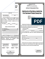 Certificate of Electrical Inspection for Temporary Power Connection