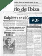 Portada del 23F de Diario de Ibiza