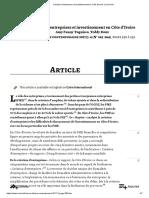 Création d'Entreprises Et Investissement en Côte d'Ivoire _ Cairn.info