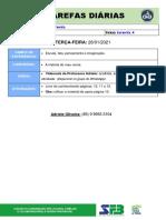 TAREFAS DIÁRIAS - Infantil 4 - 26 de Janeiro