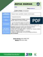 TAREFAS DIÁRIAS - Infantil 4 - 04 de Fevereiro
