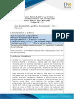 Guia de actividades y Rúbrica de evaluación - Fase 1 - Planeación