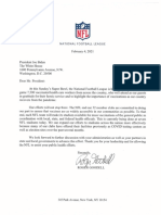 Commissioner Goodell Letter to President Biden - Stadium Vaccine Distribution