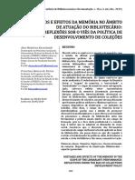 Kornalwski, Alex Medeiros - Equívocos e efeitos da memória no âmbito de atuação do bibliotecário reflexões sob o viés da política de desenvolvimento de coleções