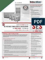 AC Voltage Stabilisers Three Phase 6 to 500kVA - Ashley Edison SES-H-3P-S15 Sales Brochure
