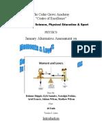 Physics January Alternative Assessment