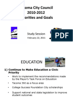 Council Priorities 2011-2012 Study Session 2-22-2011