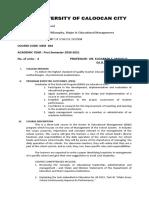 SYLLABUS Management of School Operations 1