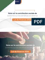 Note sur la contribution sociale de solidarité sur les bénéfices et revenus LF2021 (1)