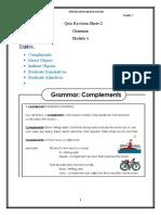 Quiz Revision Sheet 2- Grammar