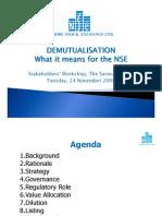 NSE Presentation Demutualization Stakeholder Workshop