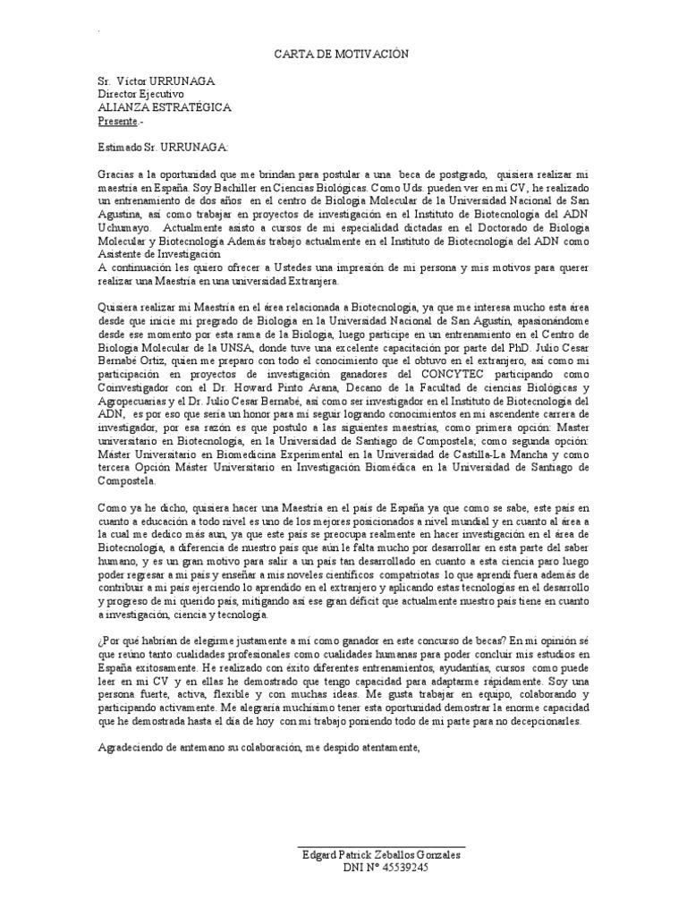 Carta De Motivacion Para Doctorado R Carta De